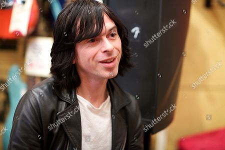 London United Kingdom - May 17: British Guitarist Barrie Cadogan Of Primal Scream Photographed During A Guitar Test For Guitarist Magazine At Regent Sounds Studio May 17