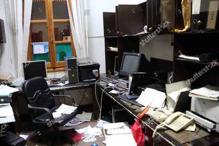 Stock Picture of Inside The Offices Of The Foreign Intelligence Agency Run By The Defected Moussa Koussa In Tripoli Libya.