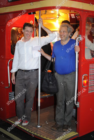 Author Alexander Masters (in White Shirt) And The Subject Of His Book Simon Norton (blue T-shirt) Board A Red Routemaster Bus Near Paddington Station Tonight At The Book Launch For The Book 'the Genius In My Basement'. Mr Norton Is Quite An Eccentric Who Loves These Type Of Buses And This Is Why The Bus Was Chosen To Ferry The Guests.  07.09.11.
