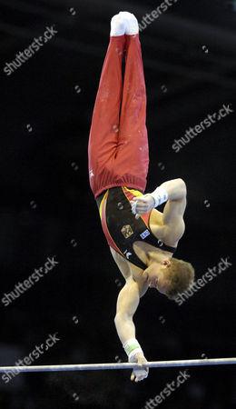 Artistic Gymnastics Fabian HAMBUeCHEN GER on high bar Artistic Gymnastics World Championships 2007 Stuttgart Baden-Wuerttemberg Germany