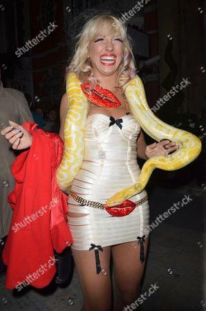 Georgina Leahy and her pet boa constrictor Slinky Sebastian