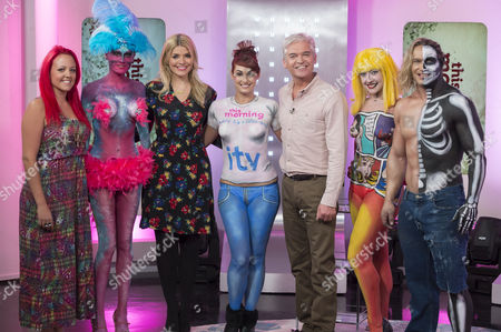 Phillip Schofield, Holly Willoughby and artist Sarah Attwell