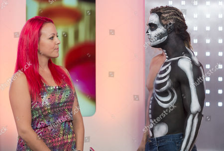 Stock Image of Artist Sarah Attwell with a model adorned with body art