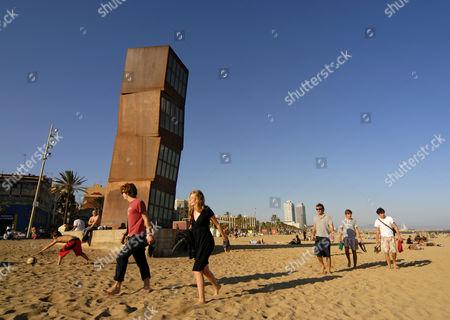 Monument Homenatge a la Barceloneta, sculpture by Rebecca Horn on Platja de Sant Sebastia Beach in Barcelona, Catalonia, Spain, Europa