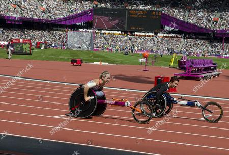 Melissa Nicholls (L) - Women's T34 100m