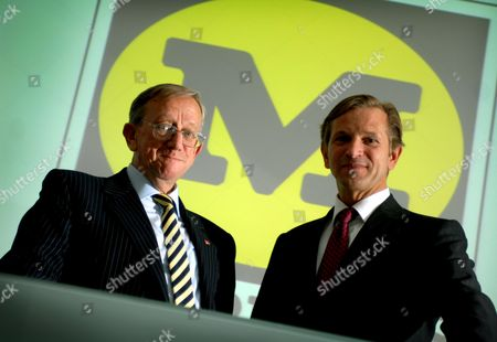 Morrisons Plc. Ken Morrison & Marc Bolland of Morrisons at the City Presentation Centre in Moorgate, Central London