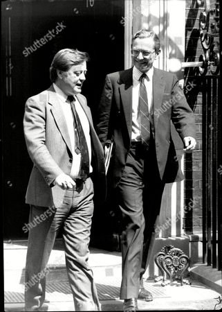 Editorial image of Norman Fowler Meets With Kenneth Clarke On Downing Street Today. Baron Fowler Of Sutton Coldfield.