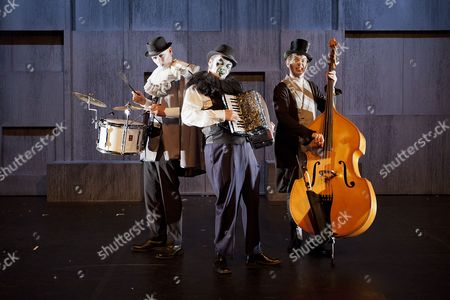 Stock Image of Eccentric three piece band The Tiger Lillies, consisting of percussionist Adrian Huge (L), Martyn Jacques (C) and bass player Adrian Stout (R) appear at a press call for 'The Tiger Lillies perform Hamlet' at the Southbank Centre in London today (18/09/12). Directed by Martin Tulinius, the show runs from 18th September - 21st September