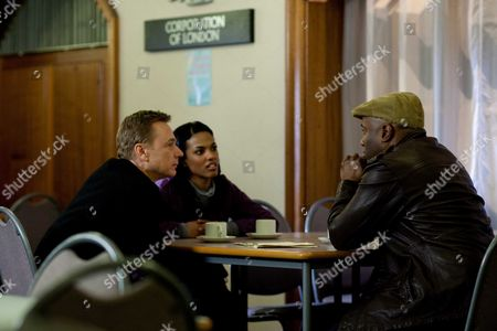 Ben Daniels as James Steel and Freema Agyeman as Alesha Phillips with Nicholas Bailey as Russell Wood
