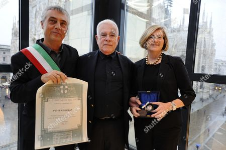 Councillor for Culture,  Stefano Boeri with Peter Eisenman and his wife