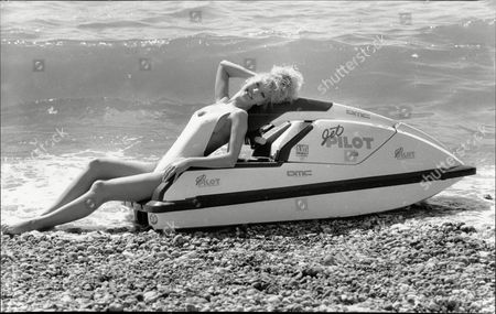 19 Year Old Julie Davis Cooling Down On A Jet Ski On Worthing Beach.