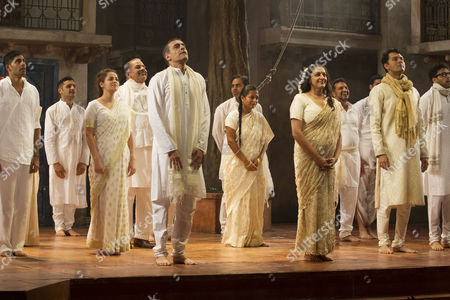 Stock Picture of 'Much Ado About Nothing' - Paul Bhattacharjee (Benedick) and Meera Syal (Beatrice) during the curtain call