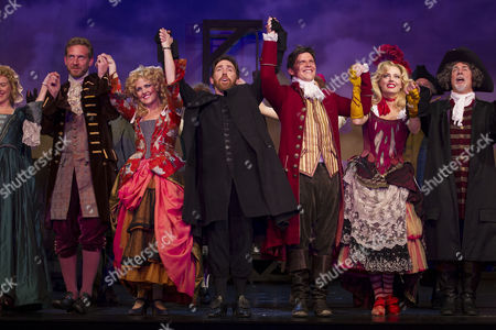 'A Chorus of Disapproval' - Paul Thornley (Ian Hubbard), Ashley Jensen (Hannah Llewellyn), Rob Brydon (Dafydd ap Llewellyn), Nigel Harman (Guy Jones), Daisy Beaumont (Fay Hubbard) and Barrie Rutter (Jarvis Huntley-Pike) during the curtain call