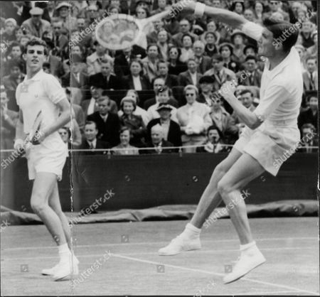 Tennis Players Roger Becker (right) And Tony Pickard In Action Against Siexas And Trabert.