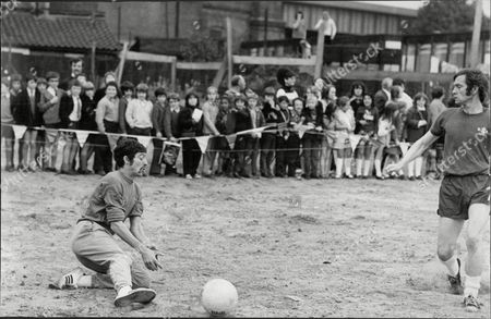 Athlete David Bedford Saves A Shot From Tom Courtney In A Five A Side Charity Mach For Deprived East End Kids.