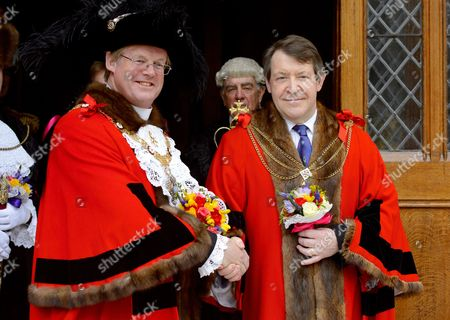 Lord Mayor of the City of London, Alderman David Wooto and Lord Mayor elect Roger Gifford after the ceremony