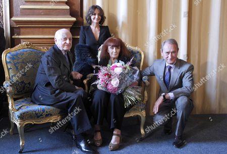 Pierre Berge, Sonia Rykiel and Nathalie Rykiel and Bertrand Delanoe