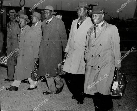 The Bamangwato (botswana) Delegation Arrives To See Lord Salisbury Including Chief Seretse Khama.