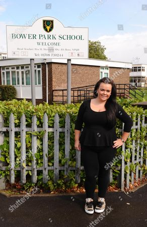 Amy Mottram outside Bower Park School