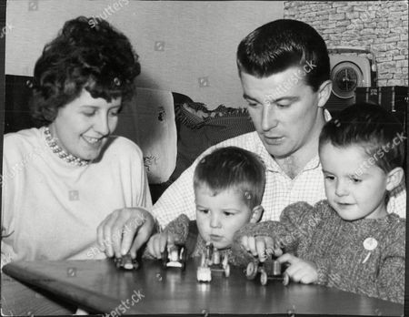 Johnny Byrne (dead October 1999) The Fulham Footballer At Home With His Wife Margaret And Their Children.