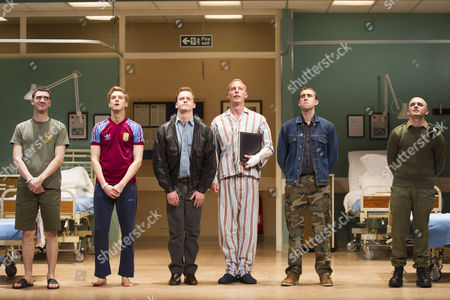 Cian Barry (Keith), Arthur Darvill (Parry), Jolyon Coy (Potential Officer Menzies), Laurence Fox (Joe), Matthew Lewis (Mick) and Lewis Reeves (Ian) during the curtain call on Press Night