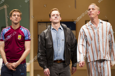 Arthur Darvill (Parry), Jolyon Coy (Potential Officer Menzies) and Laurence Fox (Joe) during the curtain call on Press Night