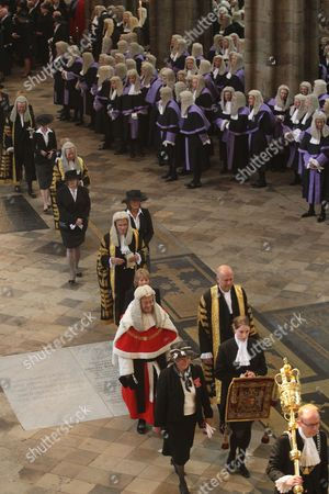 Igor Judge, Lord Chief Justice of England and Wales (in red) processes through the Westminster Abbey