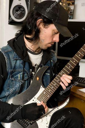 London United Kingdom - November 15: Sam Totman Of British Power Metal Band Dragonforce During A Portrait Shoot At Herman Li's Home Studio November 15