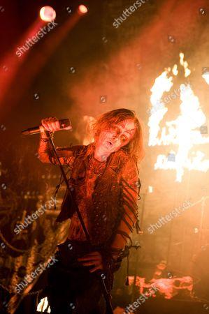 London United Kingdom - June 11: Erik Danielsson Of Swedish Black Metal Band Watain Performing Live Onstage At The Metal Hammer Golden Gods Awards June 11