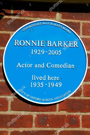 General view of the unveiling a blue plaque in honour of Ronnie Barker on his former family home in Cowley