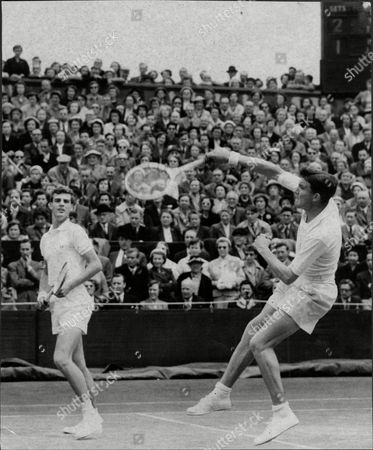 Roger Becker And J.a Pickard (tony) In Action At Wimbledon In The Mens Double's.