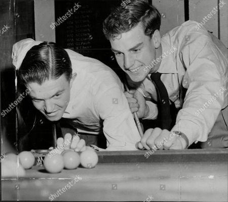 Roger Becker (left) And Tony Pickard Play Snooker At Their Shirley Clubhouse Prior To Resuming Tennis Match At Wimbledon Against Trabert And Seixas.