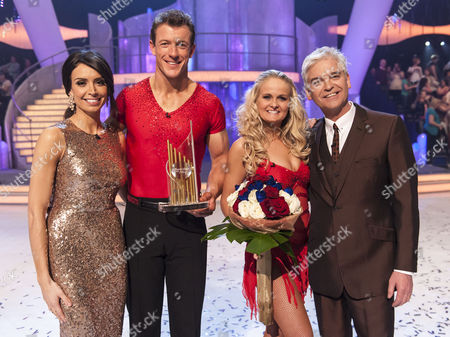 Winners of the show Steve Williams with his Pro Dancing partner Katie Stainsby, Phillip Schofield, Christine Bleakley