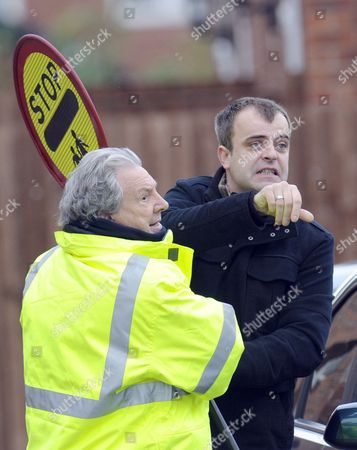 Stock Image of Simon Gregson ass Steve McDonald and Phillip Lowrie as Dennis Tanner