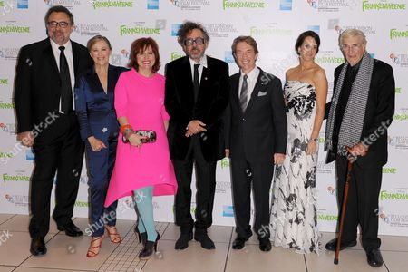 Don Hahn, Catherine O'Hara, Clare Stewart, Tim Burton, Martin Short, Allison Abbate and Martin Landau