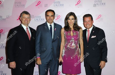 William P. Lauder (Chairman of Estee Lauder), Christopher Baldelli (President of RTL), Elizabeth Hurley and Heink van der Mark, (President of Estee Lauder France)