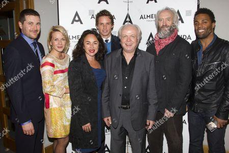 Kieran Bew (Edmund), Lisa Dillon, Samantha Spiro, Eddie Redmayne, Michael Attenborough (Artistic Director), Jonathan Pryce (King Lear) and Ray Fearon