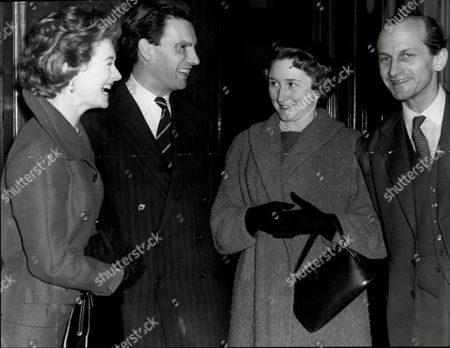 Moira Shearer (l) And Husband Ludovic Kennedy Talk With Mark Bonham Carter Lord Bonham- Carter And His Wife.