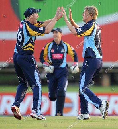Andrew Gale and Steve Patterson celebrate the wicket of Adrian Barath