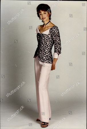 Actress Gabrielle Drake Wearing A Satin And Velvet Top And Silk Trousers By Lindka Cierach For Daily Mail Fashion Feature.