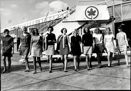 The Ten Girls Who Have Been Taken On By Air Canada To Cope With The Tourist Rush At Heathrow Left To Right Jill Bevan Sandra Nicholls Yvette Kelsilk Louise Kidman Pru Finnis Shelagh Luffran Sue Pinknney Angela Hill Barbara Nash And Jill Harborg.