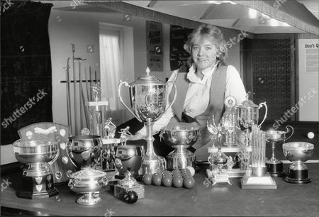 Women's World Snooker Champion Allison Fisher Pictured With The 22 Snooker Titles She Now Holds At Her Peacehaven Sussex Home.