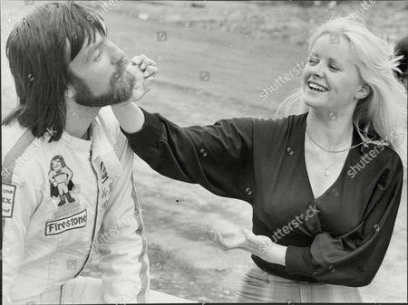 Racing Car Driver Mike Wilds With Actress Linda Cunningham.