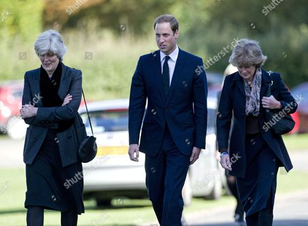 Prince William leaving the funeral of his former nanny, Olga Powell, accompanied by Baroness Lady Jane Fellowes and Lady Sarah McCorquodale
