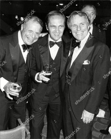 American Comedians Don Rickets And Bob Newhart With Britain's Dickie Henderson (dead September 1985) At A Bob Hope Gala Night.