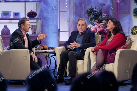 Alan Titchmarsh with Sir Andrew Lloyd Webber and Bettany Hughes