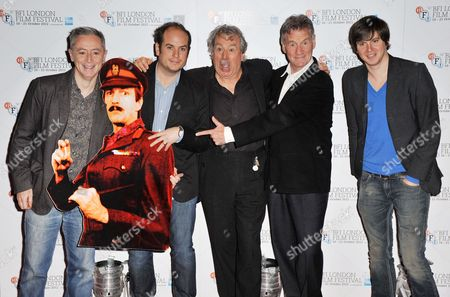 Jeff Simpson, Graham Chapman cardboard cut-out, Bill Jones, Terry Jones, Michael Palin and Ben Timlet