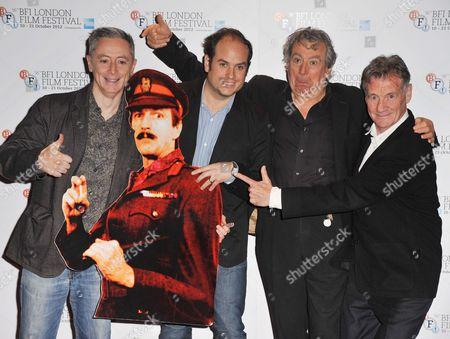 Jeff Simpson, Graham Chapman cardboard cut-out, Bill Jones, Terry Jones and Michael Palin