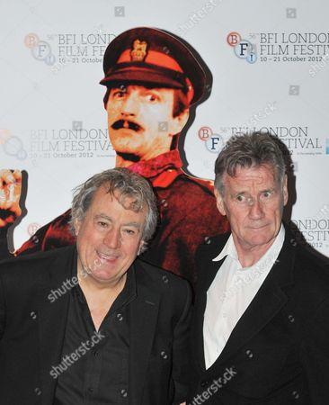 Terry Jones, Graham Chapman cardboard cut-out and Michael Palin