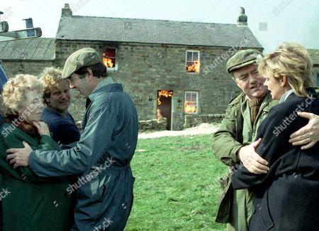 Fire at Crosgill LtoR Annie Sugden [Sheila Mercier], Phil Pearce [Peter Alexander], Jack Sugden [Clive Hornby], Matt [Frederick Pyne], Dolly [Jean Rogers].